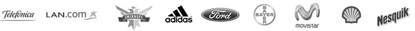 Telefónica, LAN, Smirnoff, Adidas, Ford, Bayer, Movistar, Shell, Nesquik